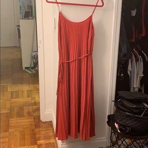 Vince coral pleated maxi dress